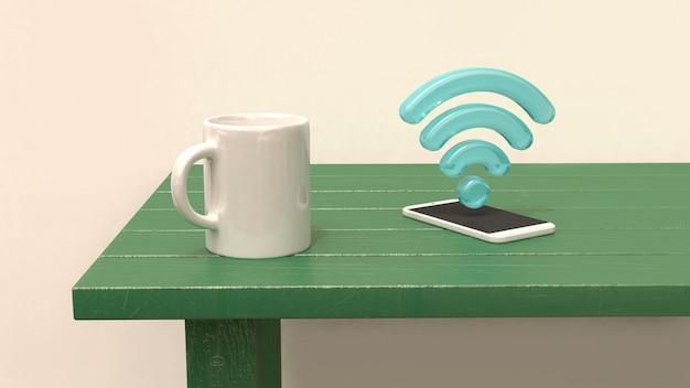 Weiße tasse am grünen tisch smartphone und 3d wifi symbol blau 3d-rendering