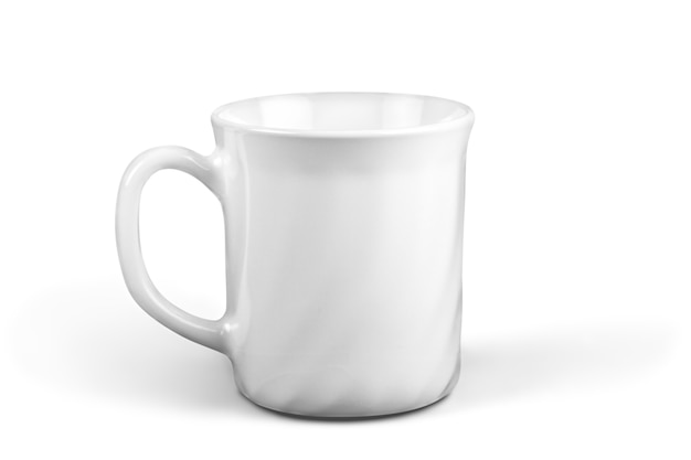 Weiße tasse auf weißem hintergrund