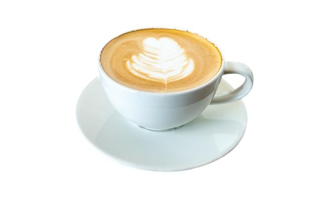 Weiße tasse mokka-kaffee lokalisiert auf weiß. datei enthält mit beschneidungspfad so einfach zu arbeiten.