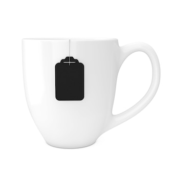 Weiße tasse tee mit leerem schwarzen teebeutel-label-mockup auf weißem hintergrund. 3d-rendering