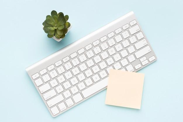 Weiße tastatur neben der pflanze