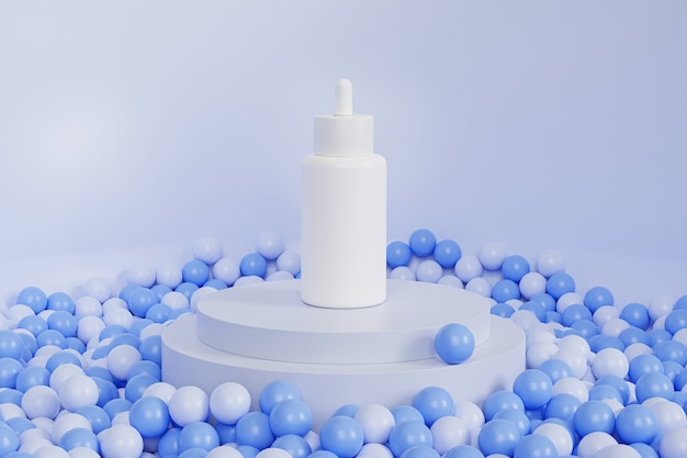 Weiße tropfflasche mit serum für kosmetikprodukte auf podium oder sockel, abstrakter 3d-render