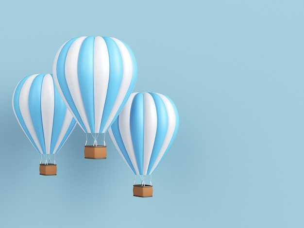 Weiße und blaue streifen des heißluftballons, bunter aerostat auf blauem hintergrund. 3d-illustration