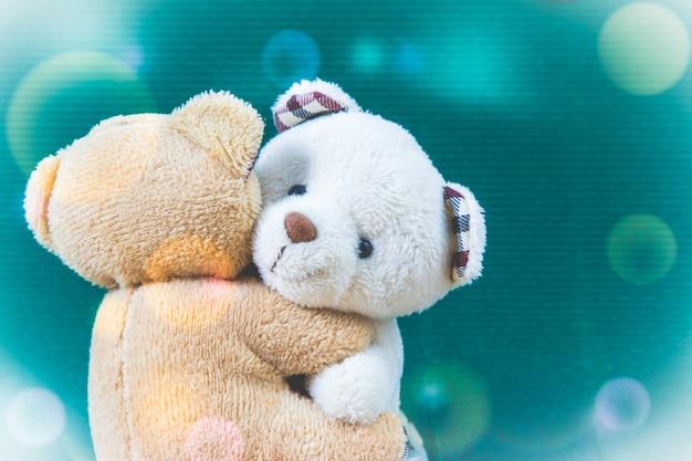 Weiße und braune paarbären umarmt mit grünem hintergrund, valentinstagkonzept.
