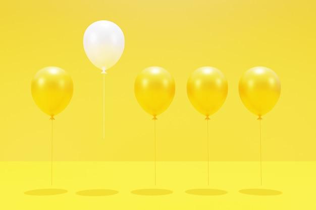 Weiße und gelbe luftballons. 3d-rendering.