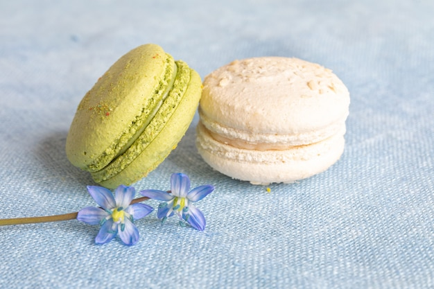 Weiße und pistazienmakronen und frühlingsblume auf einer leinenserviette. macarons oder macaroons sind französische oder italienische nachspeisen.