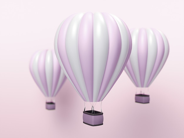 Weiße und rosa streifen des heißluftballons, bunter aerostat auf blauem hintergrund. 3d-illustration