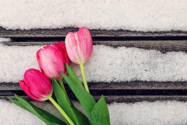 Weiße und rosa tulpen auf holzuntergrund mit schnee mit kopienraum für design