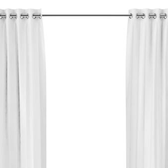 Weiße vorhänge mit ösen auf der runden leiste auf weißem hintergrund. 3d-rendering