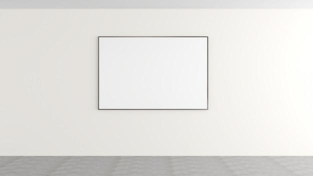 Weiße wände und leere bilderrahmen oder werbemittel dunkler büroboden aus beton es handelt sich um eine moderne dekoration.