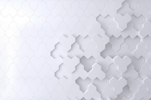 Weiße wand der bienenstock-form 3d für hintergrund, hintergrund oder tapete