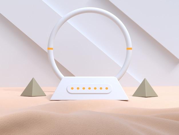 Weiße wand geometrische moderne art sahnegewebe leere podium 3d-rendering