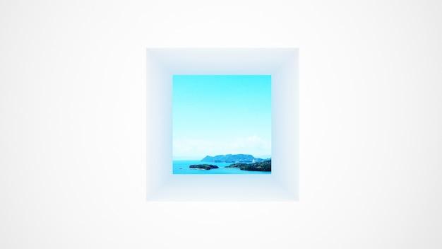 Weiße wand mit fenster seeansicht und hellem himmel