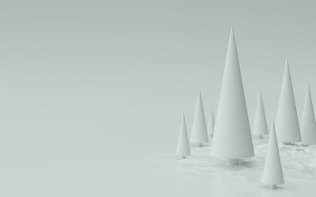 Weiße weihnachtsbäume hintergrund 3d-darstellung