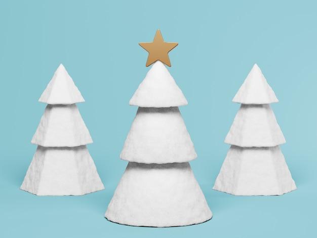 Weiße weihnachtsbäume mit dekoration auf blauem 3d übertragen