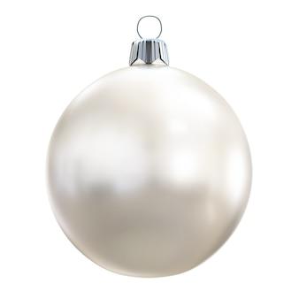 Weiße weihnachtskugel auf weißem hintergrund