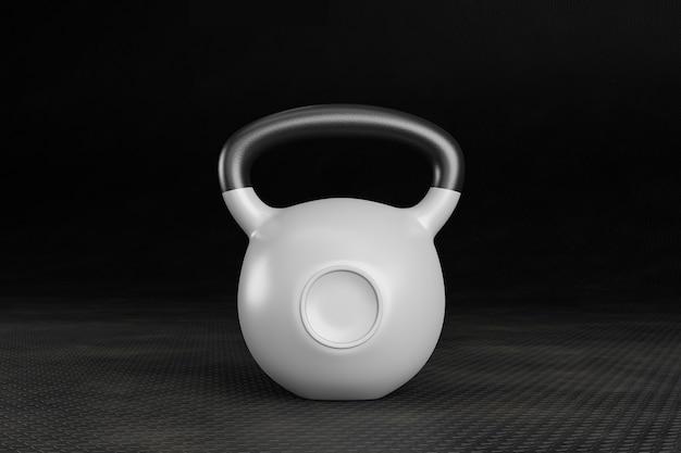 Weiße wettkampfkettlebell auf einem krafttrainings-turnhallenboden.3d illustration
