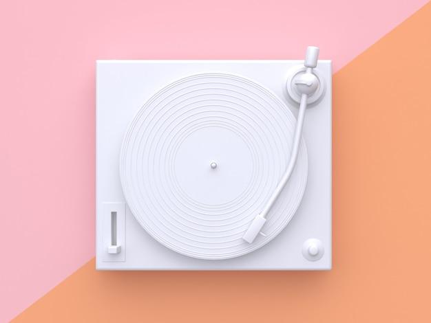 Weiße wiedergabe des vinylspielers 3d