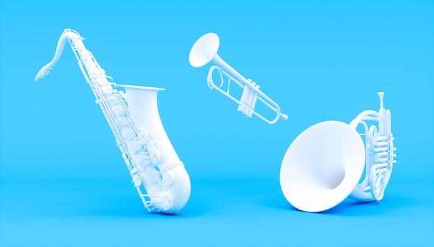 Weiße windinstrumente auf einem blauen hintergrund, 3d illustration