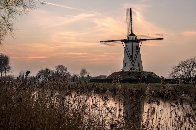 Weiße windmühle in der nähe des sees, umgeben von gras unter dem schönen himmel
