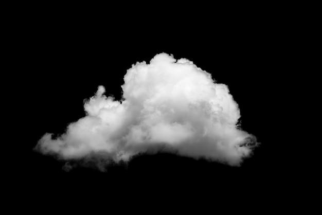 Weiße wolke lokalisiert auf schwarzem hintergrund