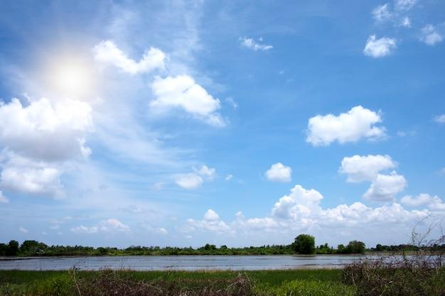 Weiße wolken und blauer himmel mit bäumen der schönen ansicht gestalten gebrauch für anzeige landschaftlich
