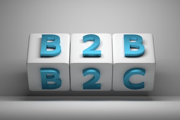 Weiße würfel mit blauen großen b2b- und b2c-wörtern