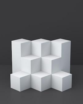 Weiße würfelkästen auf dunklem hintergrund für anzeige. 3d-rendering.