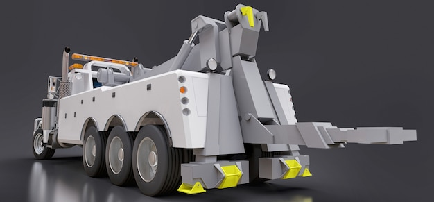 Weißer abschleppwagen für den transport anderer großer lkws oder verschiedener schwerer maschinen