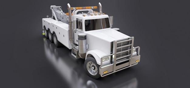 Weißer abschleppwagen zum transport anderer großer lastwagen oder verschiedener schwerer maschinen. 3d-rendering.