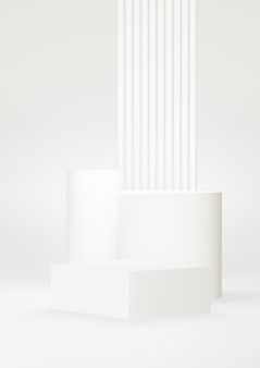 Weißer abstrakter hintergrund des podiums. geometrische figur. weiße pastellfarbszene. minimales 3d-rendering. szene mit geometrischem hintergrund. 3d rendern