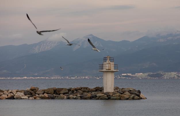 Weißer alter leuchtturm und fliegende möwen