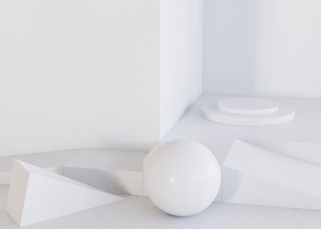 Weißer ball und geometrischer formenhintergrund