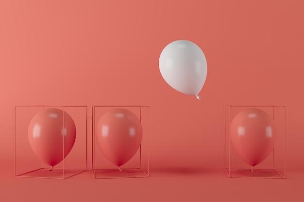Weißer ballon der minimalen konzeptfreiheit, der mit roten ballonen im roten käfig auf rotem hintergrund schwimmt