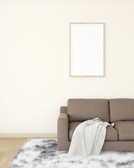 Weißer bilderrahmen an der cremefarbenen wand das innere des zimmers ist mit einem braunen sofa auf einem holzboden dekoriert.