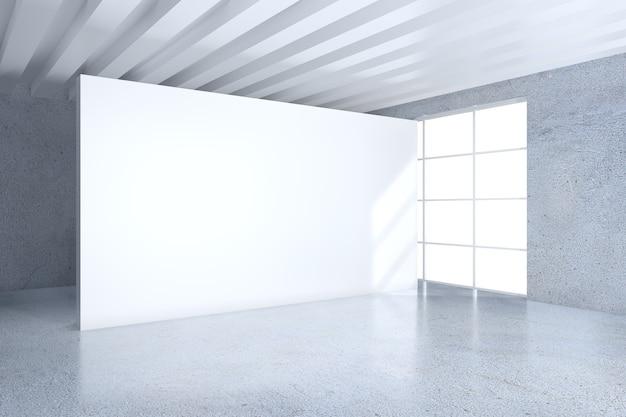 Weißer büroinnenraum mit leerer anschlagtafel an der wand. mock-up, 3d-rendering.