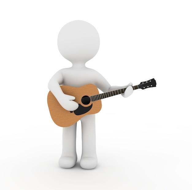 Weißer charakter, der akustische gitarre spielt