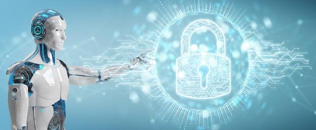 Weißer cyborg, der seine daten mit digitaler wiedergabe des sicherheitshologramms 3d schützt