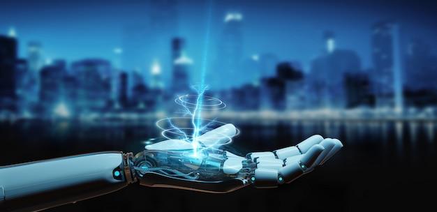 Weißer cyborg, der seine hand öffnet