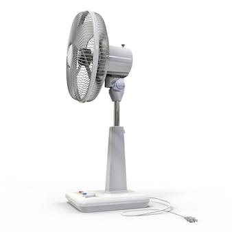 Weißer elektrischer ventilator. dreidimensionales modell auf einem weißen hintergrund