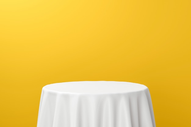 Weißer esstisch oder leere sockelanzeige auf lebendigem gelbem hintergrund mit elegantem stoff. 3d-rendering.