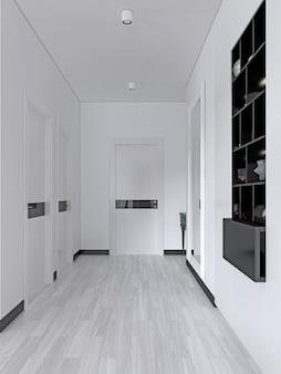 Weißer flur mit türen und eingebauten schwarzen regalen mit einem dekor im skandinavischen stil. 3d-rendering
