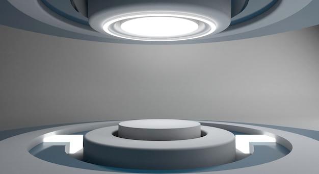 Weißer futuristischer und heller kreisstadium-raumhintergrund, wiedergabe 3d