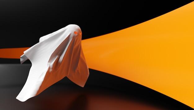 Weißer geist der illustration 3d mit den augen, die für halloween auf einem dunklen hintergrund glühen. 3d-darstellung eines geistes, der auf einem gruseligen, heiligen hintergrund schwebt. halloween-konzept.