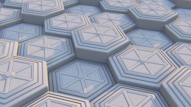 Weißer geometrischer sechseckiger abstrakter hintergrund. abbildung 3d