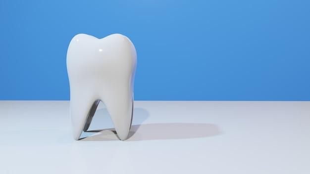 Weißer gesunder zahn isoliert auf weißem und blauem hintergrund mundhygiene zahnaufhellung abstrakte 3d-darstellung