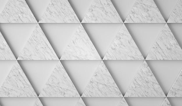 Weißer hintergrund mit marmordreiecken d render