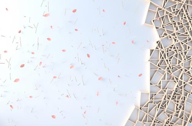 Weißer hintergrunddekor mit hölzerner regalwand, niederlassung, bilderrahmen, blumenblattschlag. 3d render. die sonne scheint durch das fenster in die schatten.
