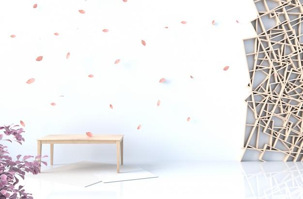 Weißer hintergrunddekor mit hölzerner regalwand