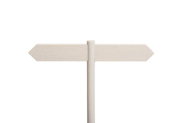 Weißer hölzerner wegweiser mit zwei leeren brettern, die in verschiedene richtungen zeigen